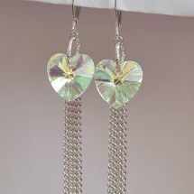 Crystal Heart Chain Fall Earring