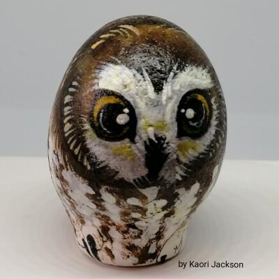 Hand painted stone owl Image