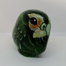 Hand painted stone kakapo