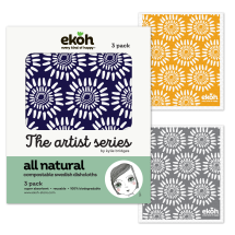 Compostable Sponge Dishcloth 3pk - Artist Scandi Flora