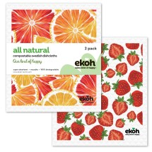 Dish Cloth Swedish Sponge Cloth 2pk.Citrus & Strawberry