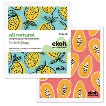 Dish Cloth Swedish Sponge Cloth 2pk.Papaya & Lemons