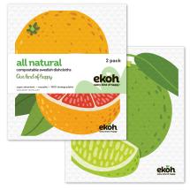 Dish Cloth Swedish Sponge Cloth 2pk. Grapefruit & Lime