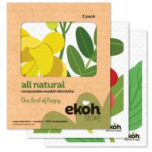 Dish Cloths Sponge Cloth 3 pk. Botanical Prints