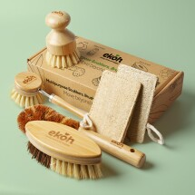 Kitchen & Body Brushes Bamboo Brushes & Loofah-6 Pack