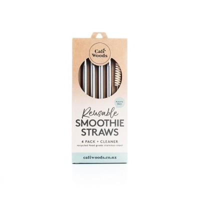 CaliWoods Reusable Smoothie Straws – 4 Pack + Cleaner Image