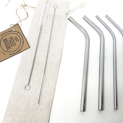 Reusable Bent Drinking  Straws –  Mixed 4 Pack Image