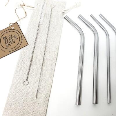 Reusable Bent Drinking  Straws – Standard 4  Pack Image