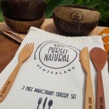 3 Piece Mahogany Cutlery Picnic Set