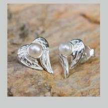 Angelic silver & pearl earrings