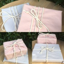 Reusable Gift Wrap -  Pale Blush + Mushroom (Organic)