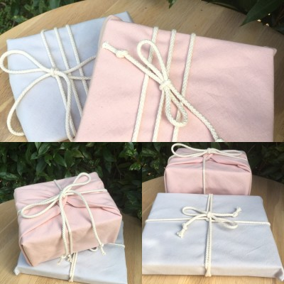 Reusable Gift Wrap –  Pale Blush + Mushroom (Organic) Image