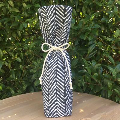 Reusable Wine Bottle Gift Bag – Herringbone (Organic) Image