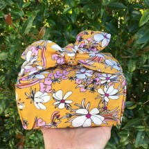 Furoshiki Gift Wrap - Mustard Magnolia (Organic)