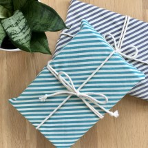 Reusable Gift Wrap - Aqua + Grey Stripe