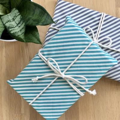Reusable Gift Wrap – Aqua + Grey Stripe Image