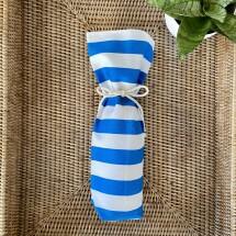 Reusable Wine Bottle Gift Bag - Blue + White