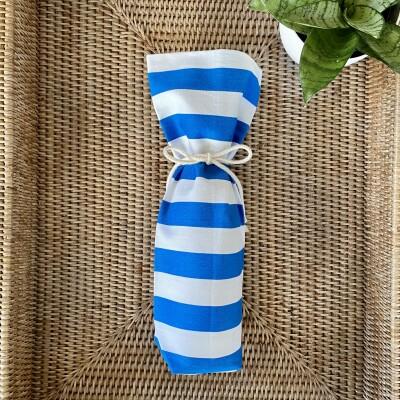 Reusable Wine Bottle Gift Bag – Blue + White Image
