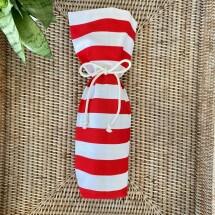 Reusable Wine Bottle Gift Bag - Red + White