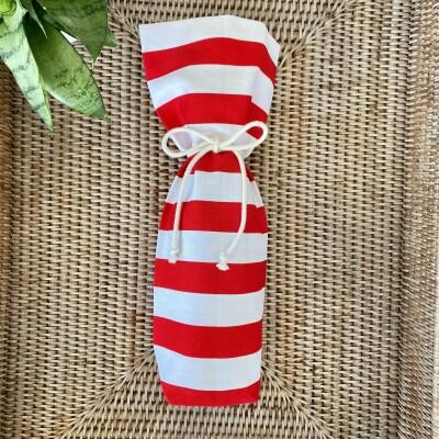 Reusable Wine Bottle Gift Bag – Red + White Image