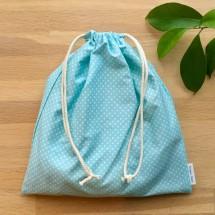 Reusable Gift Bag -  Aqua Polka Image